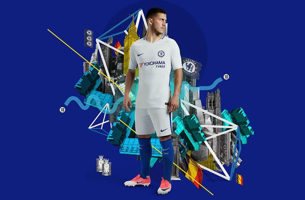 Eden Hazard in the 2017-18 Nike Chelsea Away Jersey