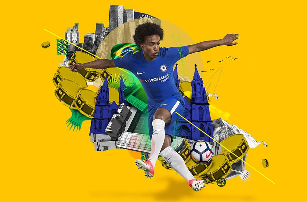 Willian in the 2017-18 Nike Chelsea Home Jersey