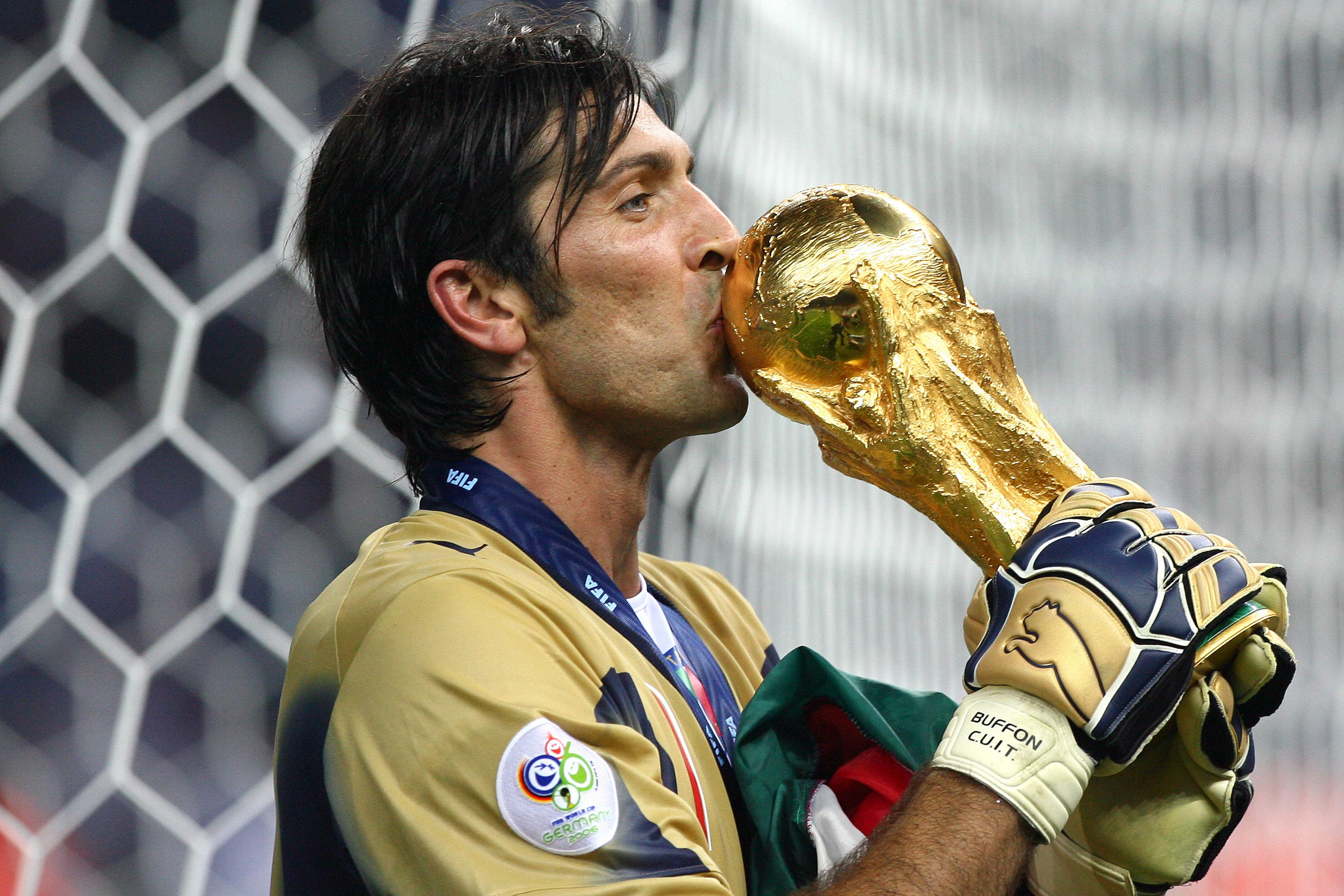 90ed7174d41 Gianluigi Buffon (ITA) celebrates with the trophy after the final of the  2006 FIFA