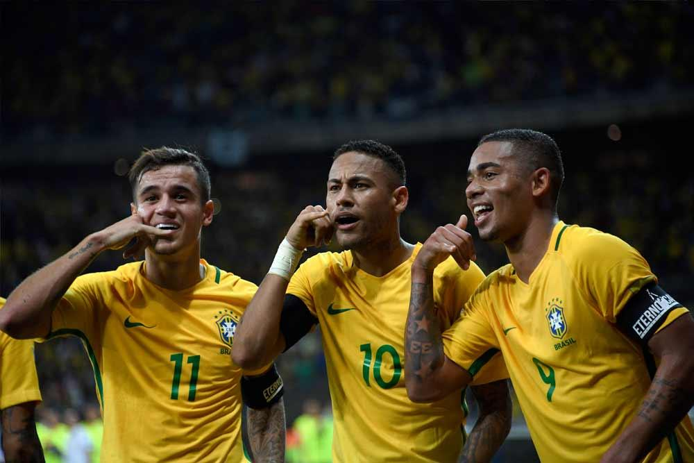Philippe Coutinho, Neymar Jr. and Gabriel Jesus of Brazil