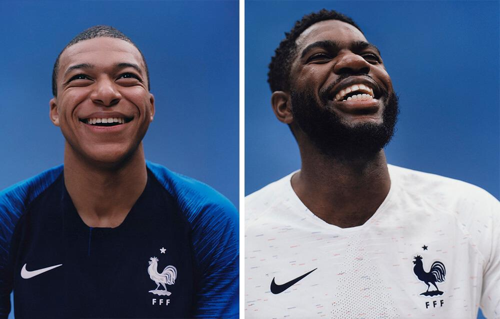 Kylian Mbappe and Samuel Umtiti in the 2018 Nike France home and away jerseys