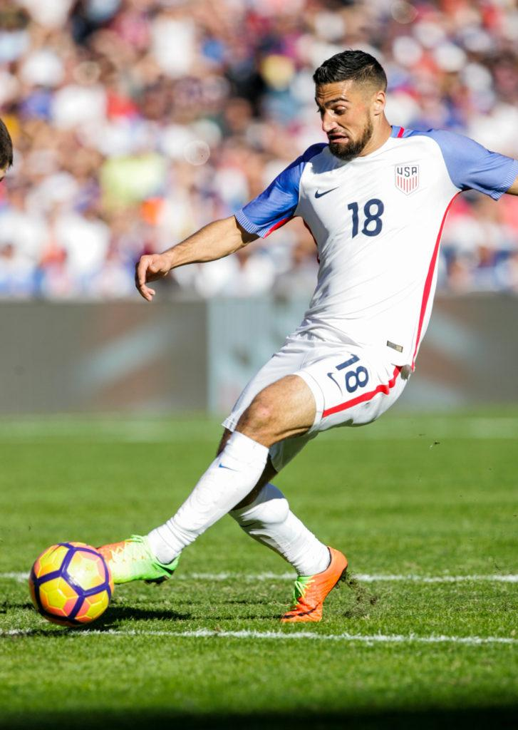 SAN DIEGO, CA - JANUARY 29: Sebastian Lietget #18 of the United States dribbles the ball against Serbia in the second half of the match at Qualcomm Stadium on January 29, 2017 in San Diego, California. (Photo by Kent Horner/Getty Images)