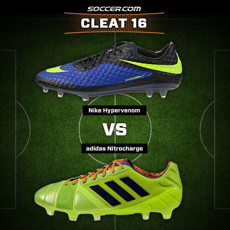 6987d230f5f4 Cleat 16: Nike Hypervenom v adidas Nitrocharge