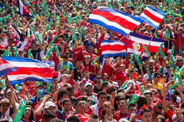 Costa Rican Celebrate Victory Over Italy