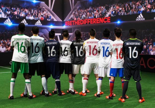 PARIS, FRANCE - NOVEMBER 12: Creators reveal the adidas away kits for the UEFA 2016 Euro Championship(TM) at the World's first digital stadium, The Future Arena on November 12, 2015 in Paris, France. (Photo by Adam Pretty/Getty Images)