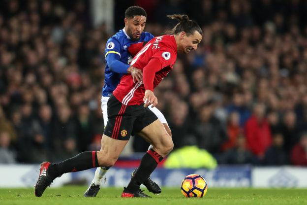 LIVERPOOL, ENGLAND - DECEMBER 04: Zlatan Ibrahimovic of Manchester United battles with Ashley Williams of Everton during the Premier League match between Everton and Manchester United at Goodison Park on December 4, 2016 in Liverpool, England. (Photo by Chris Brunskill - AMA/Getty Images)