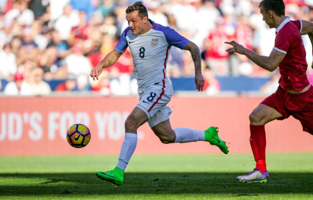 SAN DIEGO, CA - JANUARY 29: Jordan Morris #8 of the United States controls the ball against Serbia in the second half of the match at Qualcomm Stadium on January 29, 2017 in San Diego, California. (Photo by Kent Horner/Getty Images)
