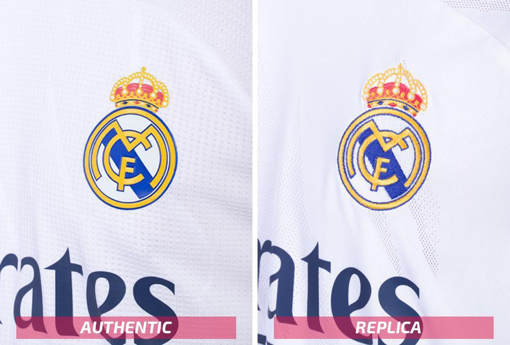 adidas Real Madrid replica and authentic sleeves