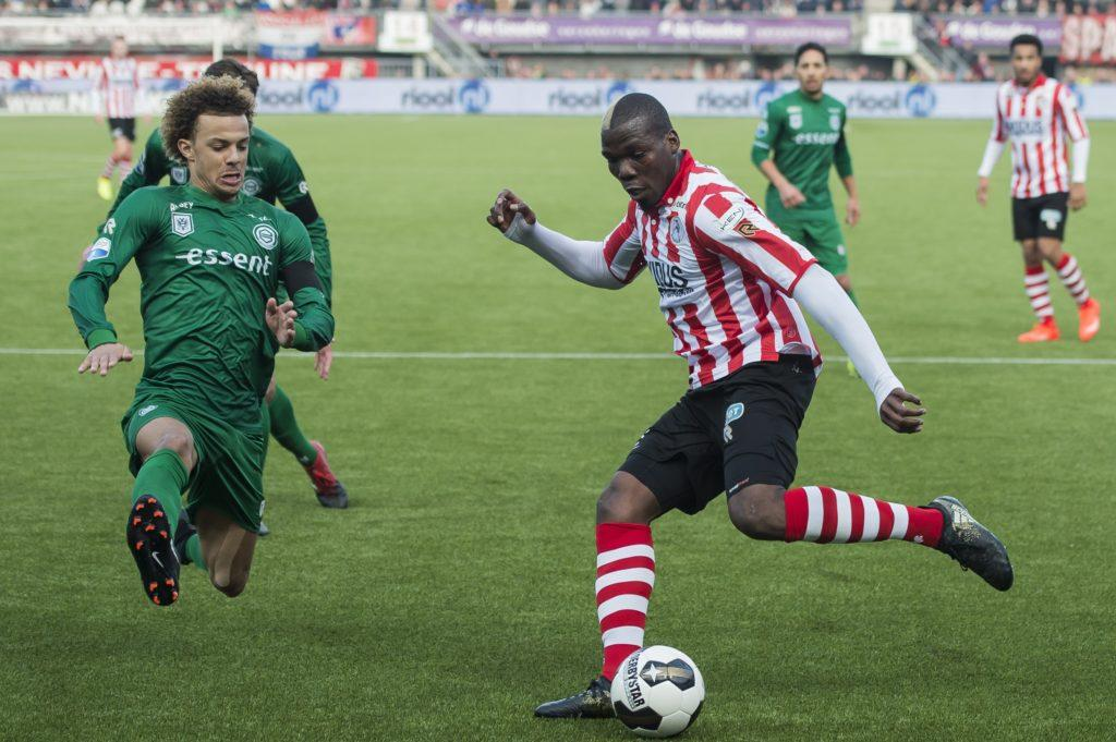 (L-R) Desevio Payne of FC Groningen, Mathias Pogba of Sparta Rotterdamduring the Dutch Eredivisie match between Sparta Rotterdam and FC Groningen at the Sparta stadium Het Kasteel on February 19, 2017 in Rotterdam, The Netherlands(Photo by VI Images via Getty Images)