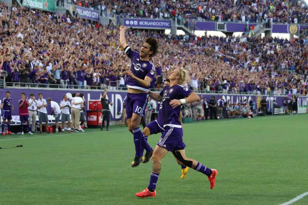 ORLANDO, FL - MARCH 08: Kaka #10 of Orlando City SC celebrates after he scores the first goal in team history during an MLS soccer match between the New York City FC and the Orlando City SC at the Orlando Citrus Bowl on March 8, 2015 in Orlando, Florida. This was the first game for both teams and the final score was 1-1.(Photo by Alex Menendez/Getty Images)