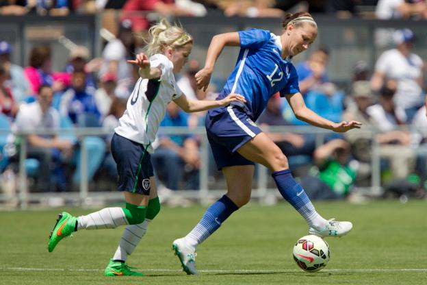 SAN JOSE, CA - MAY 10:  Lauren Holiday #12 of the United States blocks out Denise O'Sullivan #10 of Ireland in the second half of their international friendly match on May 10, 2015 at Avaya Stadium in San Jose, California.  The U.S. won 3-0.  (Photo by Brian Bahr/Getty Images)