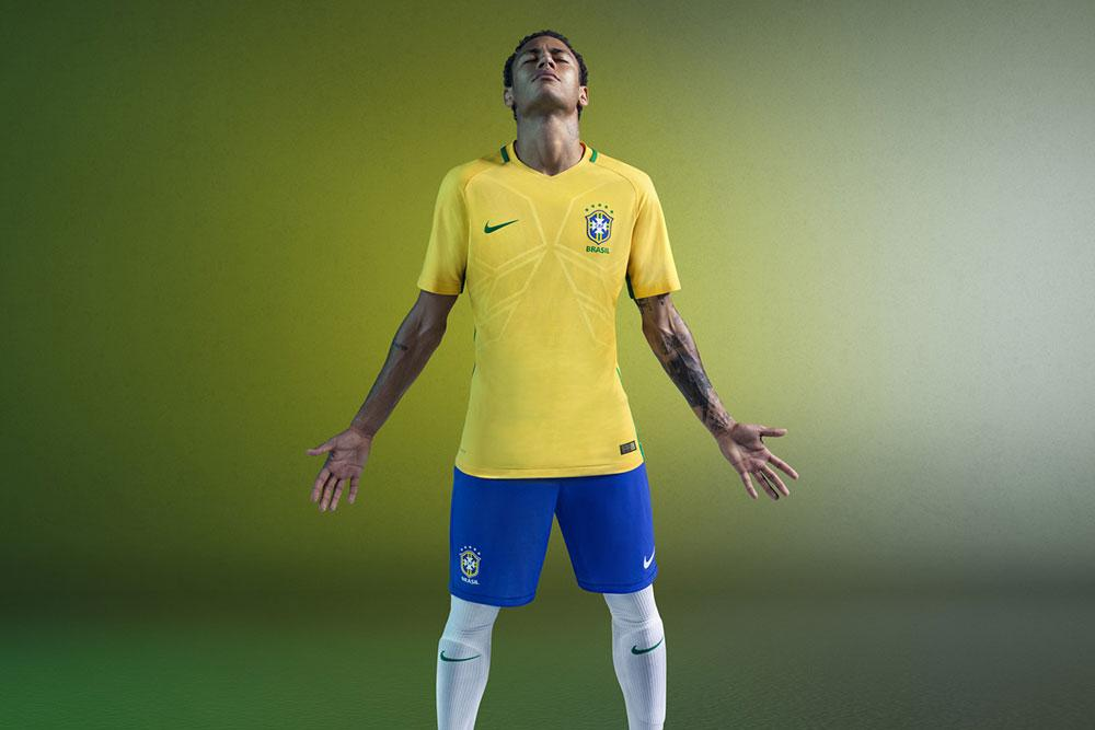 Neymar Jr. and the 2016 Nike Brazil home jersey