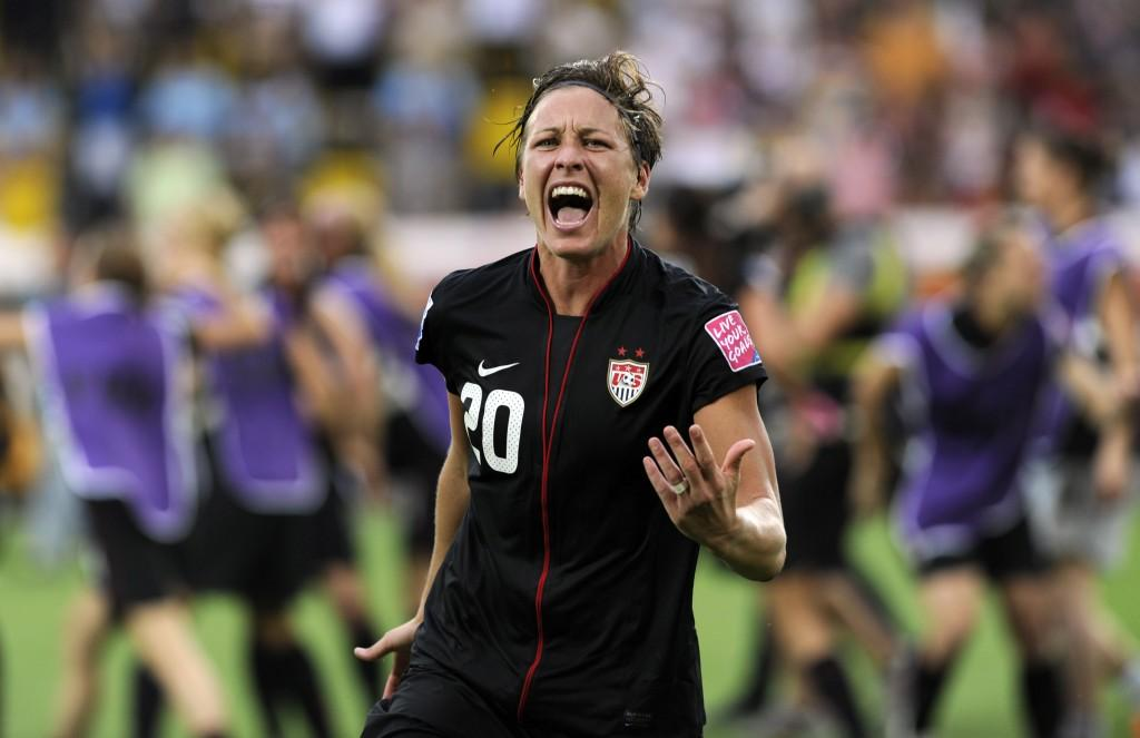 USA's striker Abby Wambach celebrates af