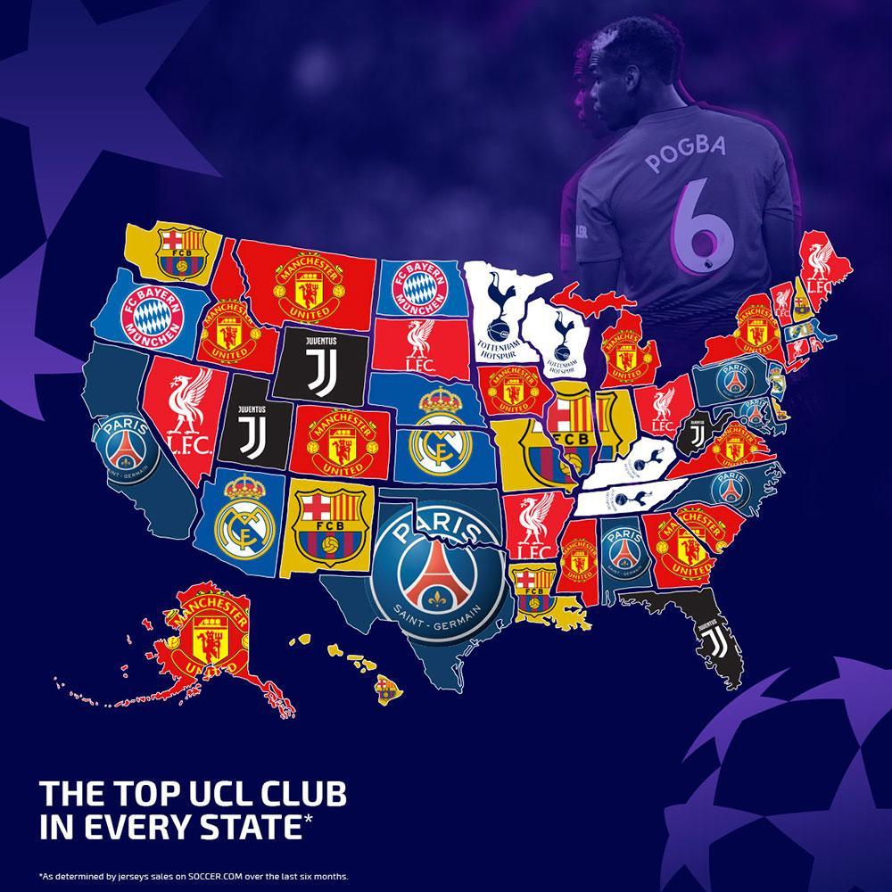 Here are the top-selling 2018-19 Champions League club jerseys in each U.S.  state. 7172527f4
