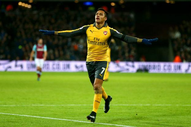 LONDON, ENGLAND - DECEMBER 03: Alexis Sanchez of Arsenal celebrates after scoring his team's third goal during the Premier League match between West Ham United and Arsenal at London Stadium on December 3, 2016 in London, England. (Photo by Jordan Mansfield/Getty Images)