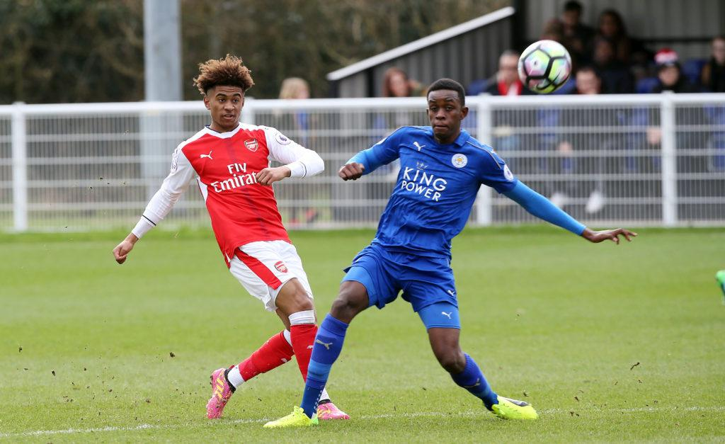 LEICESTER, ENGLAND - February 19: Arsenal's Reiss Nelson under pressure from Leicesters Admiral Muskwe during the Leicester City v Arsenal U23 PL2 match at Holmes Park on February 19 , 2017 in Leicester, United Kingdom. (Photo by Plumb Images/Leicester City FC via Getty Images)