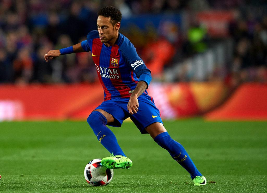 BARCELONA, SPAIN - JANUARY 26: Neymar JR of Barcelona in action during the Copa del Rey quarter-final second leg match between FC Barcelona and Real Sociedad at Camp Nou on January 26, 2017 in Barcelona, Spain. (Photo by Manuel Queimadelos Alonso/Getty Images)