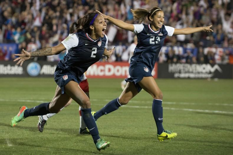 FRISCO, TX - JANUARY 31:  Sydney Leroux #2 of the U.S. Women's National Team celebrates after scoring the game-winning goal against the Canadian Women's National Team on January 31, 2014 at Toyota Stadium in Frisco, Texas.  (Photo by Cooper Neill/Getty Images)