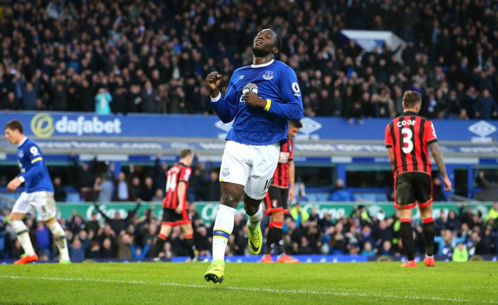 LIVERPOOL, ENGLAND - FEBRUARY 04: Romelu Lukaku of Everton celebrates scoring his sides fourth goal during the Premier League match between Everton and AFC Bournemouth at Goodison Park on February 4, 2017 in Liverpool, England. (Photo by Alex Livesey/Getty Images)