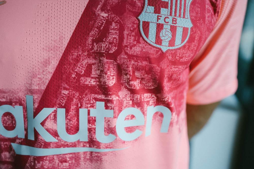 7dcd17073 The pale pink backdrop and a darker red sash continue Barca s bold  tradition of bright alternate strips reserved for world-class players and  their fearless ...