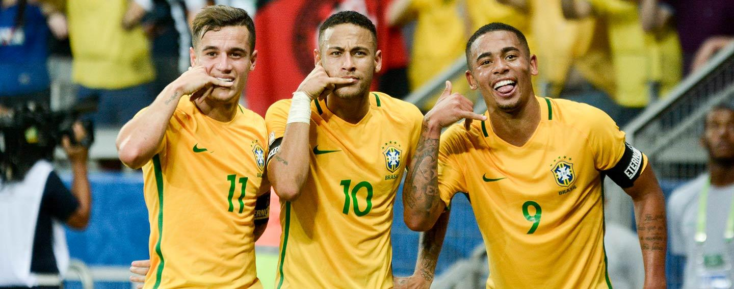Philppe Coutinho, Neymar Jr and Gabriel Jesus of the Brazilian National Team.