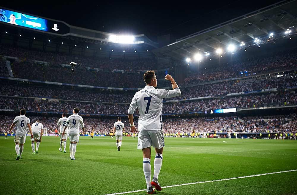 Cristiano Ronaldo celebrates his hat trick against Atletico Madrid in the UEFA Champions League semifinals