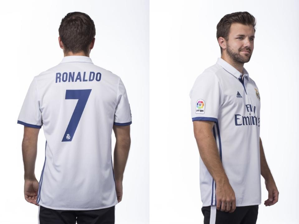 Real Madrid official customization includes name and number. Jersey already comes with La Liga patch.