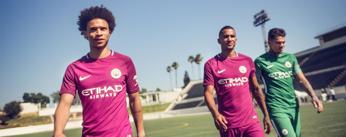 2017-18 Nike Manchester City away jersey featuring Leroy Sane, Danilo and Ederson